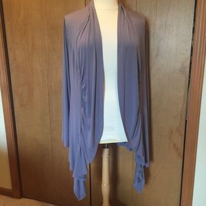 2X Soft Gray Scalloped open front long cardigan